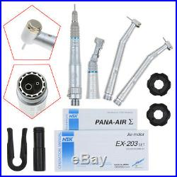 Dental NSK Handpieces Kit 2 High & 1 Low Speed Push Button B2 2 Hole US STOCK