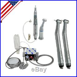 Dental Portable Air Turbine Unit Compressor 4H + High Low Speed Handpiece kit us