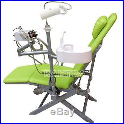 Dental Portable Folding Chair Green with Turbine High Low Speed Handpiece Kit UK