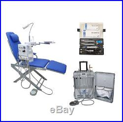 Dental Portable Unit with Air Compressor+Dental Chair+High & low Speed Handpiece